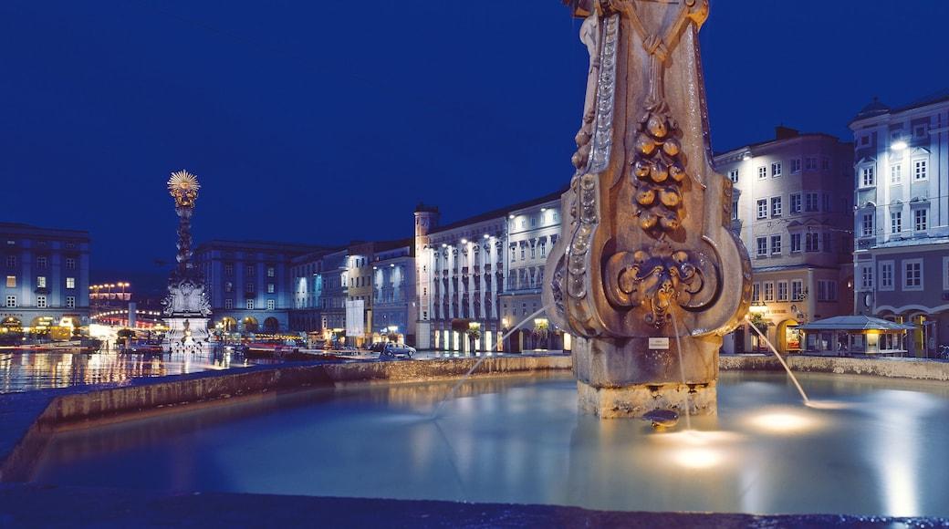 Linz welches beinhaltet bei Nacht, Platz oder Plaza und Springbrunnen