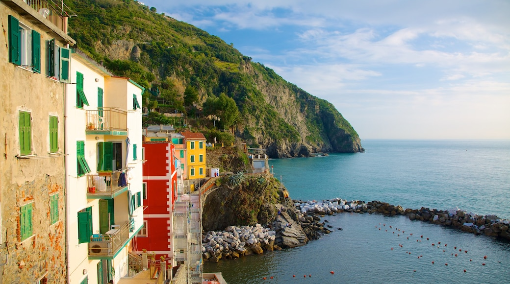 Riomaggiore showing a coastal town, rugged coastline and a house