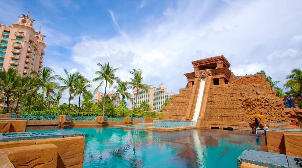 Aquaventure showing rides and a pool