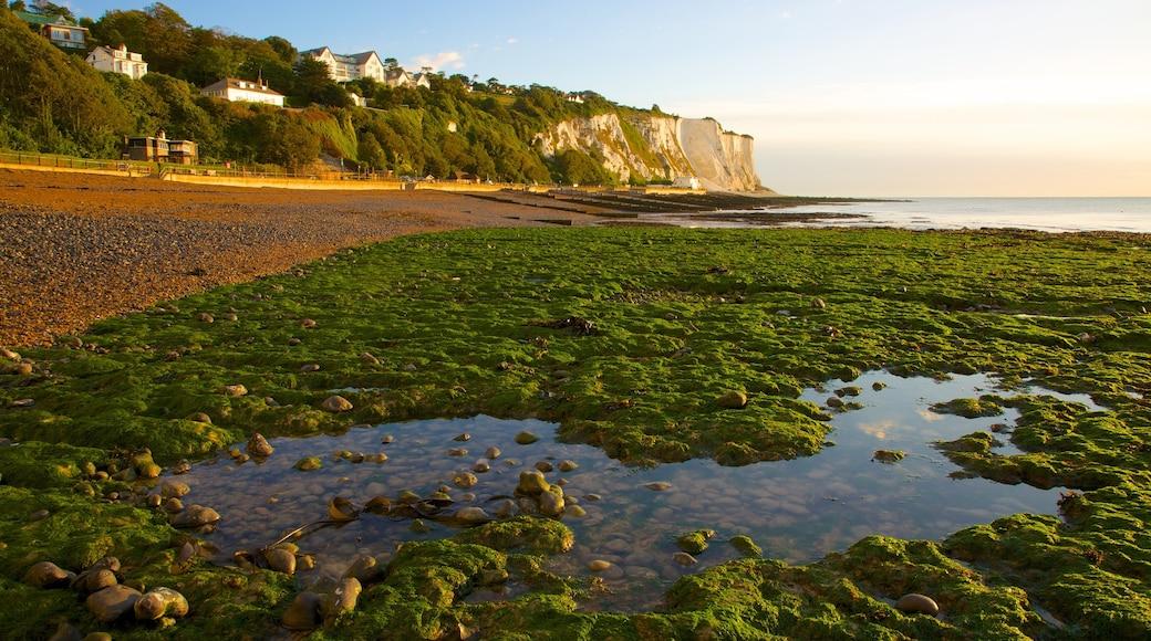 Dover fasiliteter samt strand med småstein og landskap