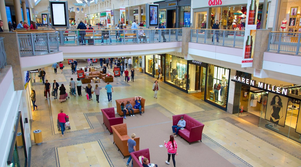 Bluewater Shopping Centre showing shopping and interior views as well as a large group of people