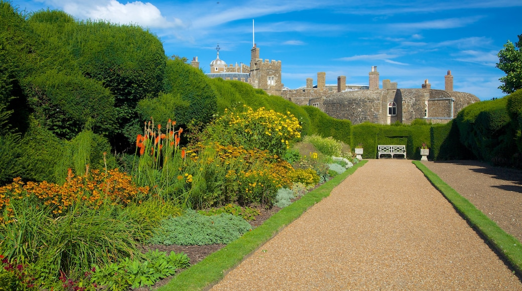 Walmer Castle and Gardens showing a garden, heritage architecture and flowers