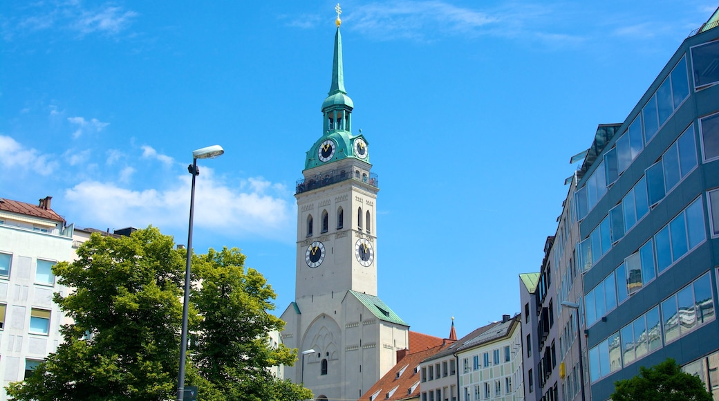 Munich which includes a city, a church or cathedral and religious elements