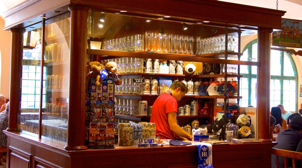 Hofbrauhaus showing interior views, drinks or beverages and a bar