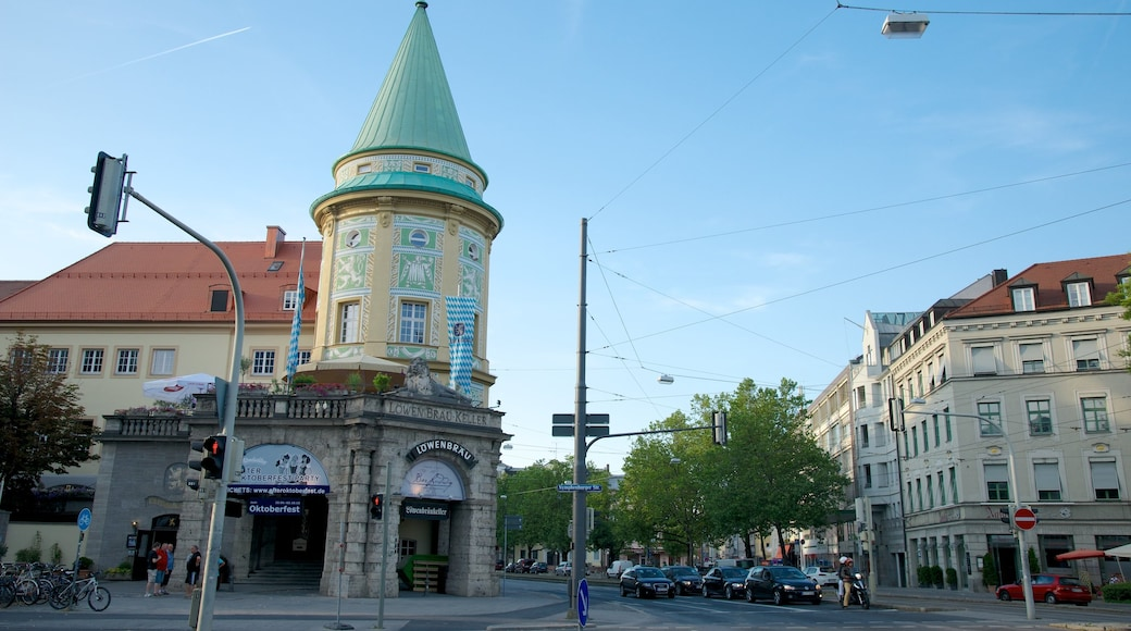 Lowenbrau showing heritage architecture, a city and street scenes