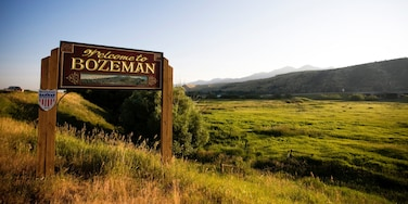 Bozeman which includes signage and tranquil scenes