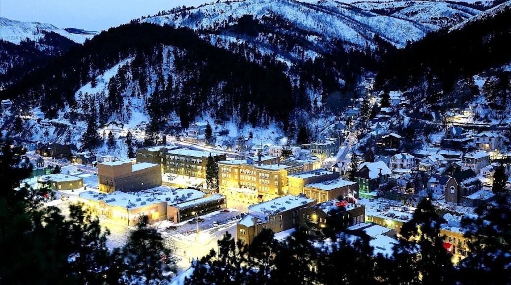 Deadwood og byder på en lille by eller en landsby, natteliv og sne