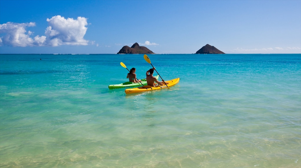 Kailua Beach showing landscape views, kayaking or canoeing and island views
