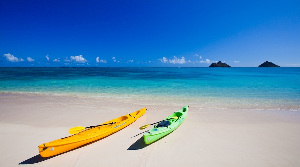 Kailua Beach featuring kayaking or canoeing, landscape views and a sandy beach