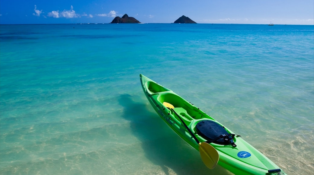 Kailua Beach showing landscape views, kayaking or canoeing and a beach