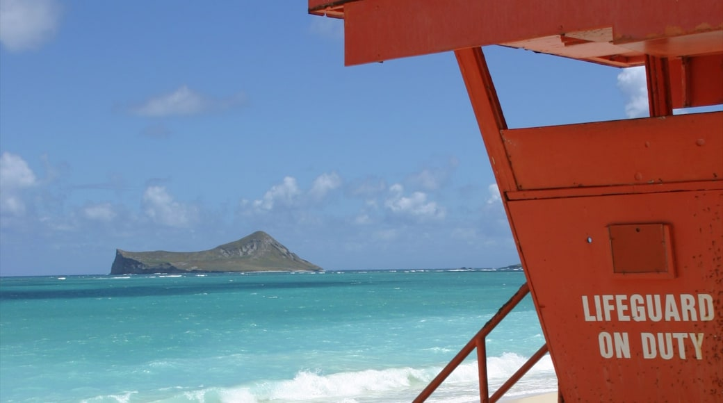 Waimanalo Beach featuring landscape views, island images and a beach