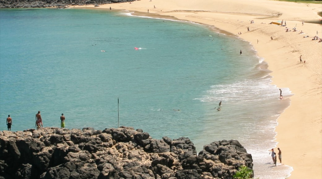 Waimea Bay featuring a beach, landscape views and tropical scenes