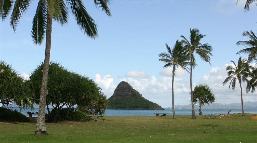 Kualoa Beach Park which includes general coastal views, landscape views and tropical scenes