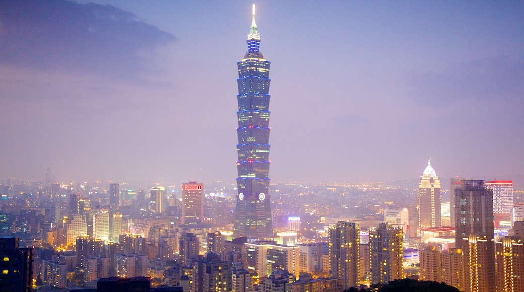Taipei which includes a sunset, a city and city views