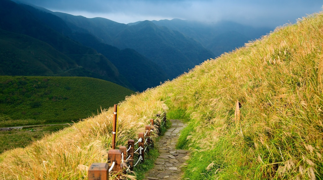Yangmingshan Nationalpark welches beinhaltet Landschaften, Nebel und Berge