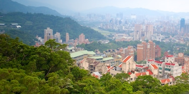 Maokong Gondola featuring a high-rise building, mountains and a city