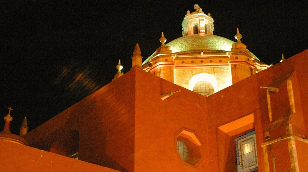Queretaro featuring heritage architecture, night scenes and a church or cathedral