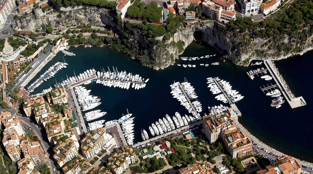 Monaco which includes a bay or harbor, a city and boating