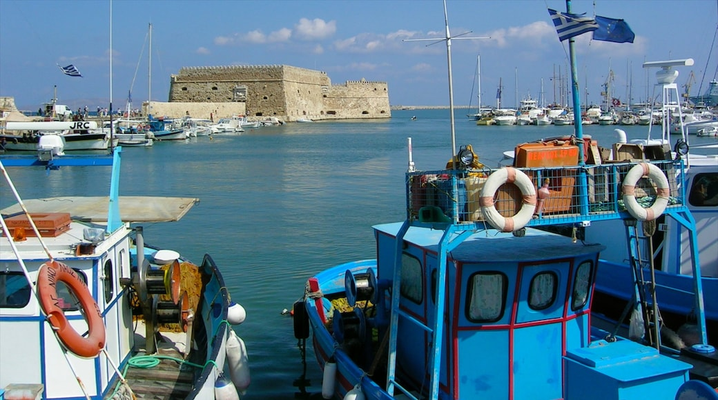 Heraklion showing boating, heritage architecture and a marina