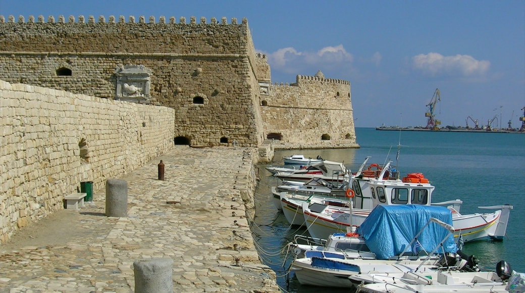 Heraklion showing a marina, a castle and heritage architecture