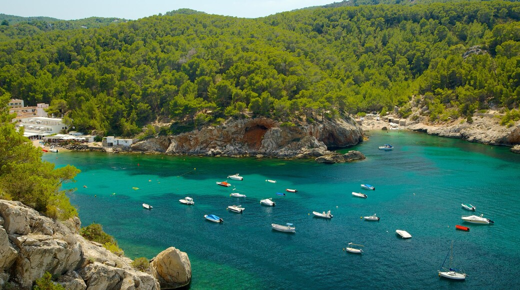 Cova de Can Marca which includes boating, landscape views and a bay or harbour