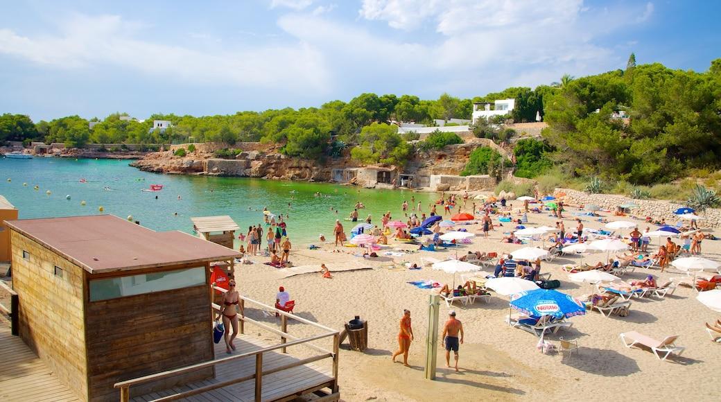 Cala Gració ofreciendo una playa, natación y una localidad costera