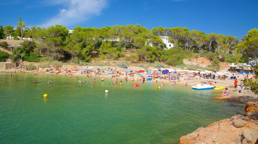 Cala Gració ofreciendo natación, una playa y una localidad costera