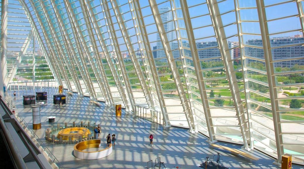 Ciudad de las Artes y de las Ciencias toont een stad en interieur