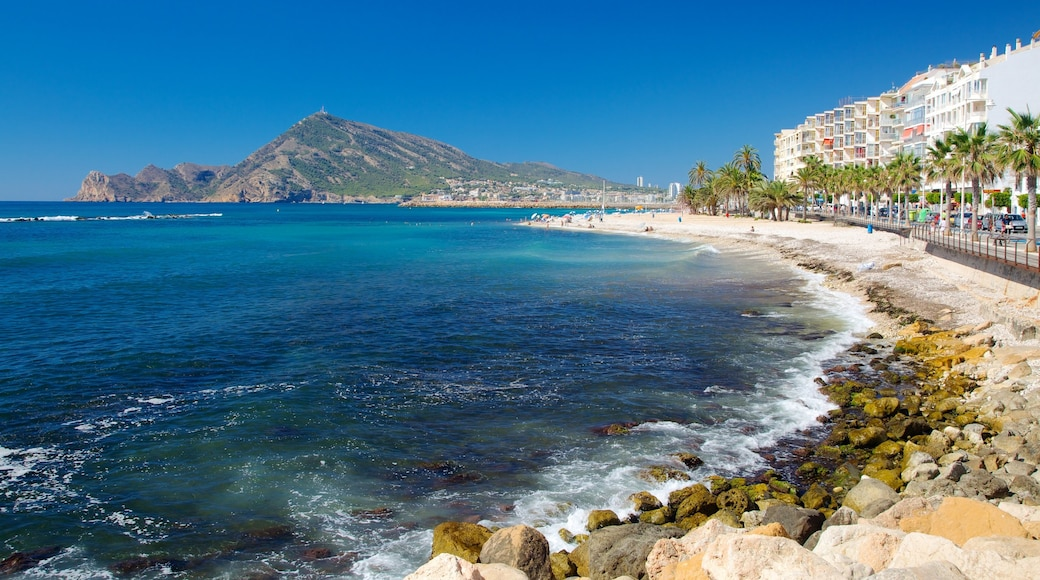 Altea which includes mountains, a coastal town and rugged coastline