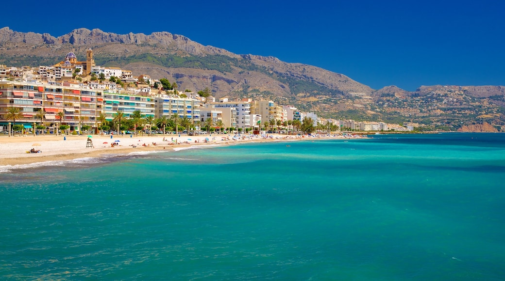 Altea which includes a sandy beach and a coastal town