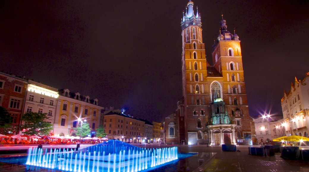 St. Mary\'s Basilica featuring a church or cathedral, night scenes and a city