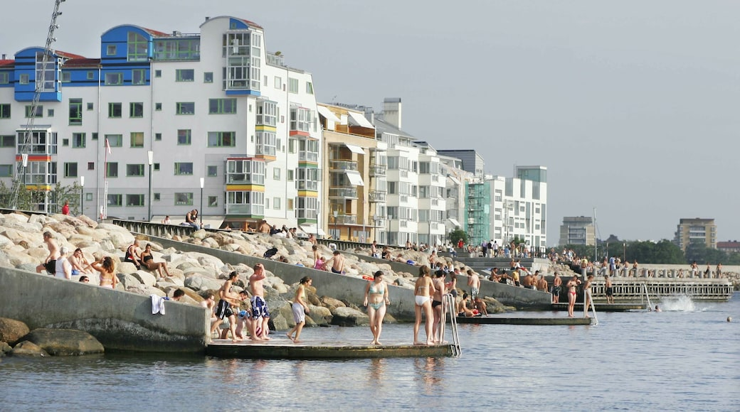 Malmo showing rugged coastline, a coastal town and swimming