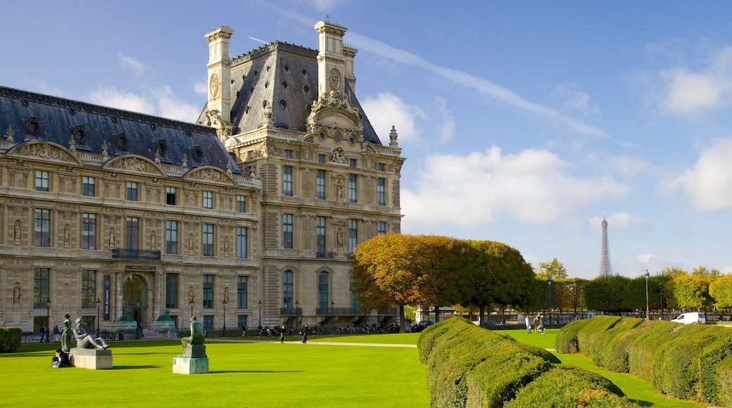 Louvre Museum featuring heritage elements, a garden and heritage architecture