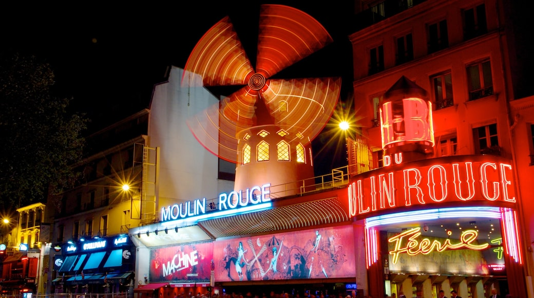 Moulin Rouge which includes theater scenes, night scenes and signage