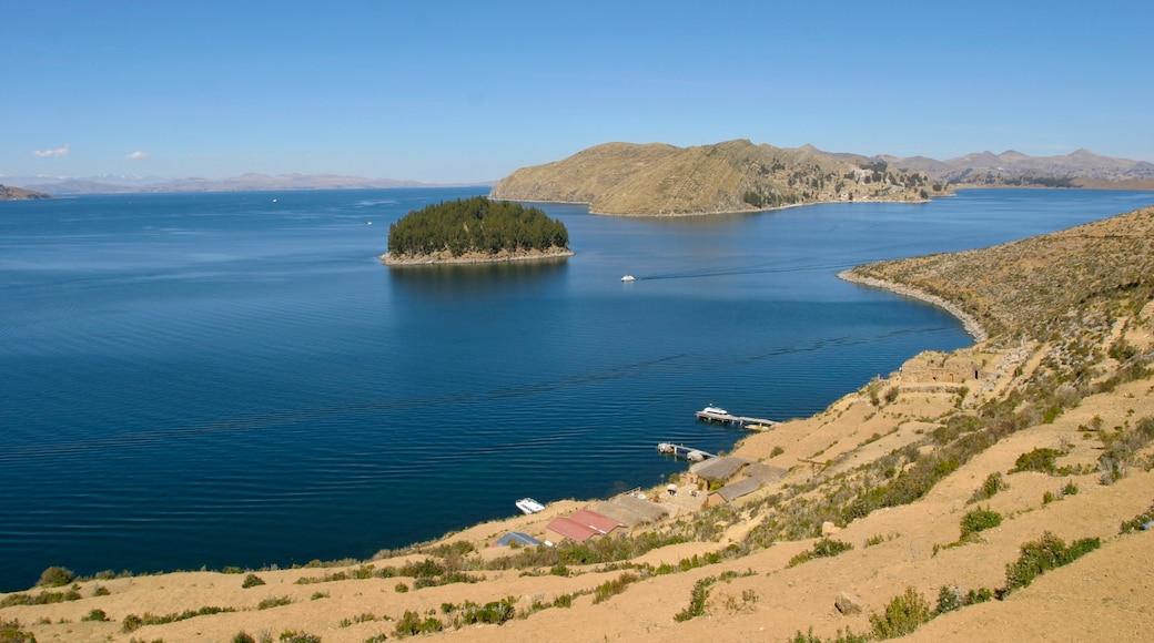 Lake Titicaca - Puno showing general coastal views, landscape views and a lake or waterhole