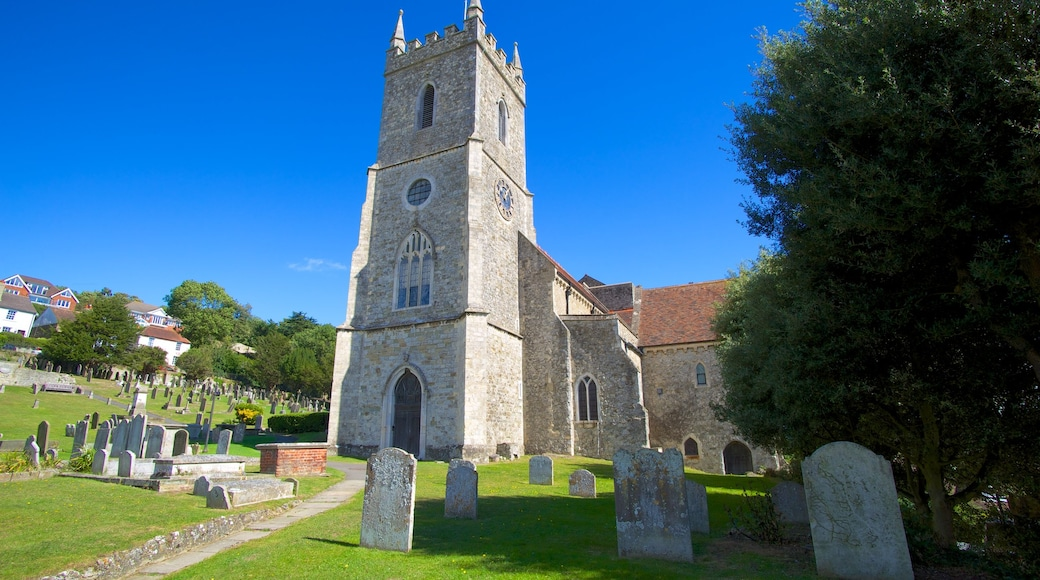 Hythe which includes a church or cathedral, a cemetery and religious elements