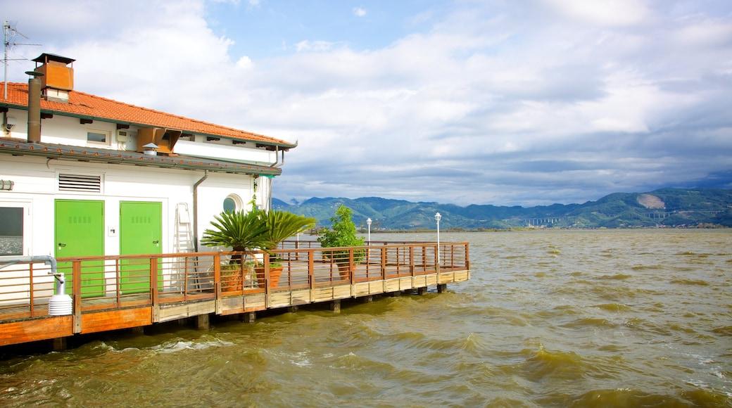 Lago di Massaciuccoli che include casa e vista della costa