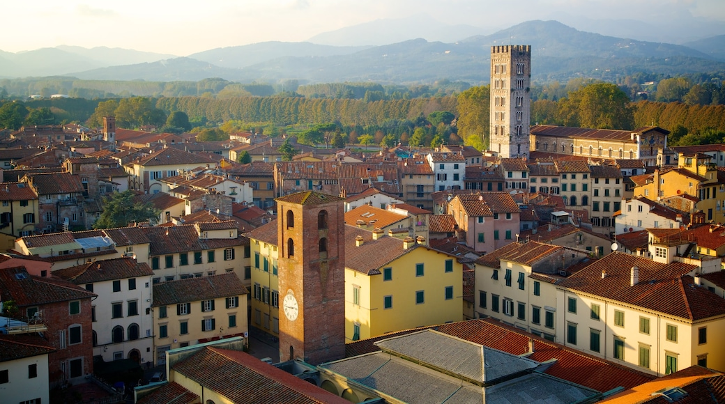 Guinigi Tower which includes heritage architecture, a small town or village and skyline
