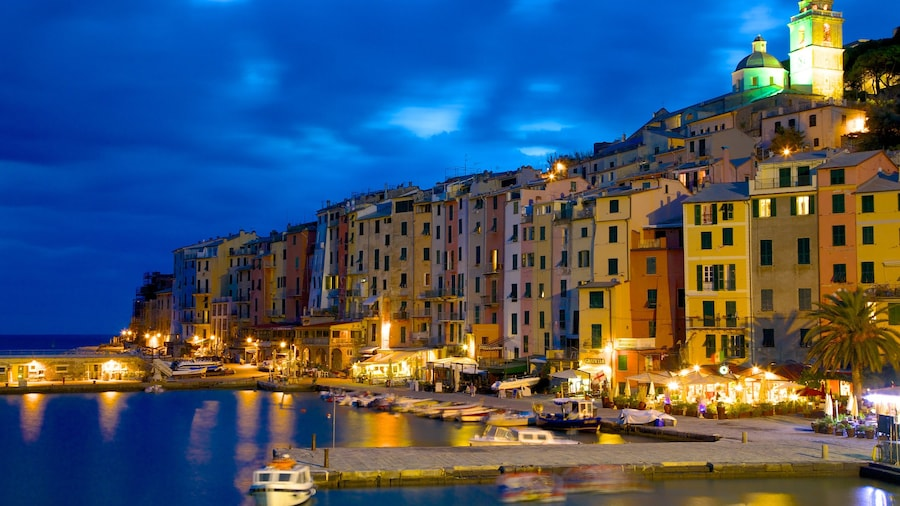 Cinque Terre which includes a marina, night scenes and a coastal town
