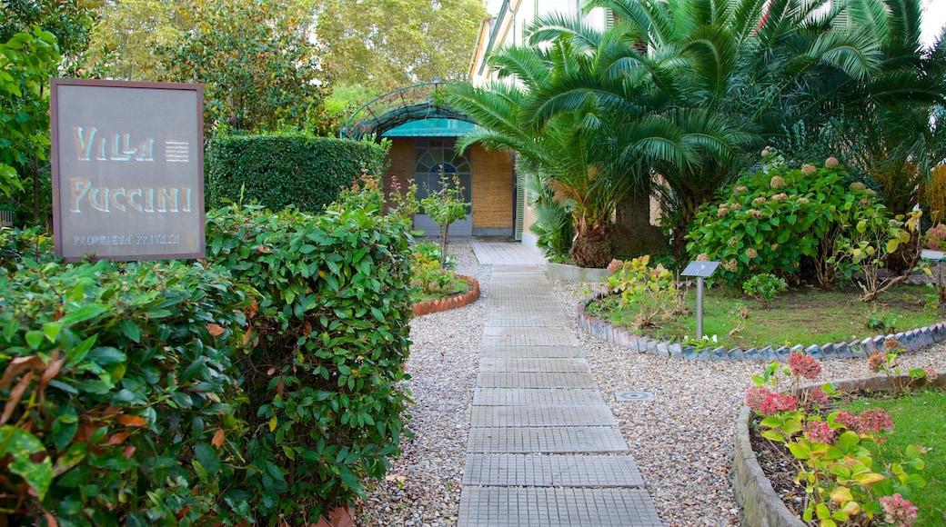 Villa Puccini das einen Garten und Beschilderung