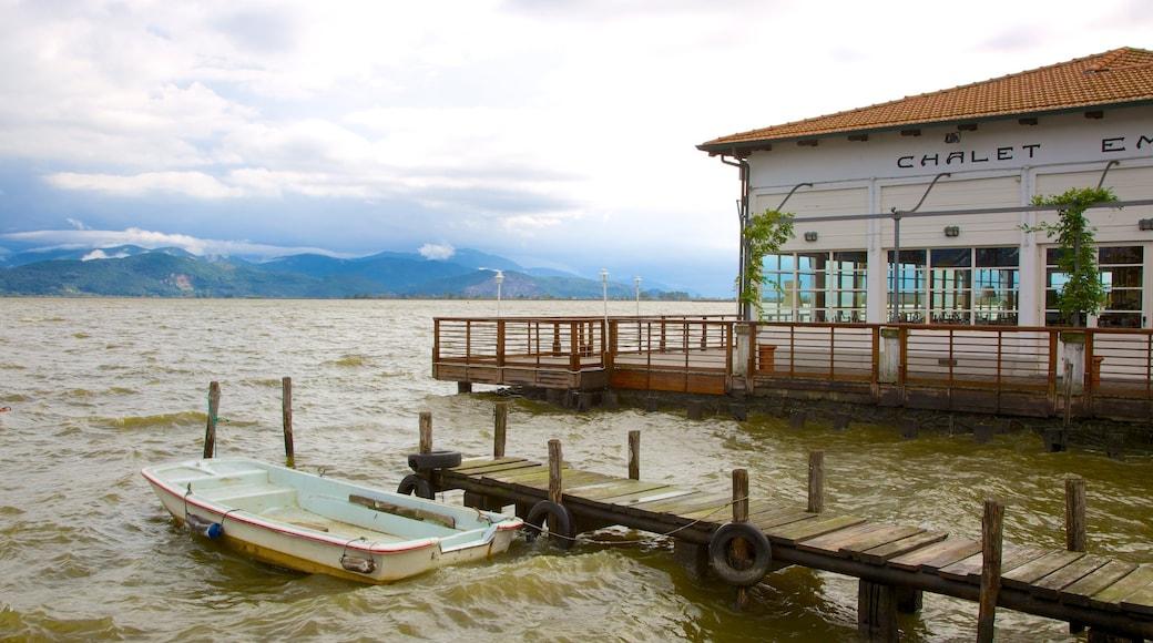 Lac Massaciuccoli qui includes ville côtière, pont et lac ou étang