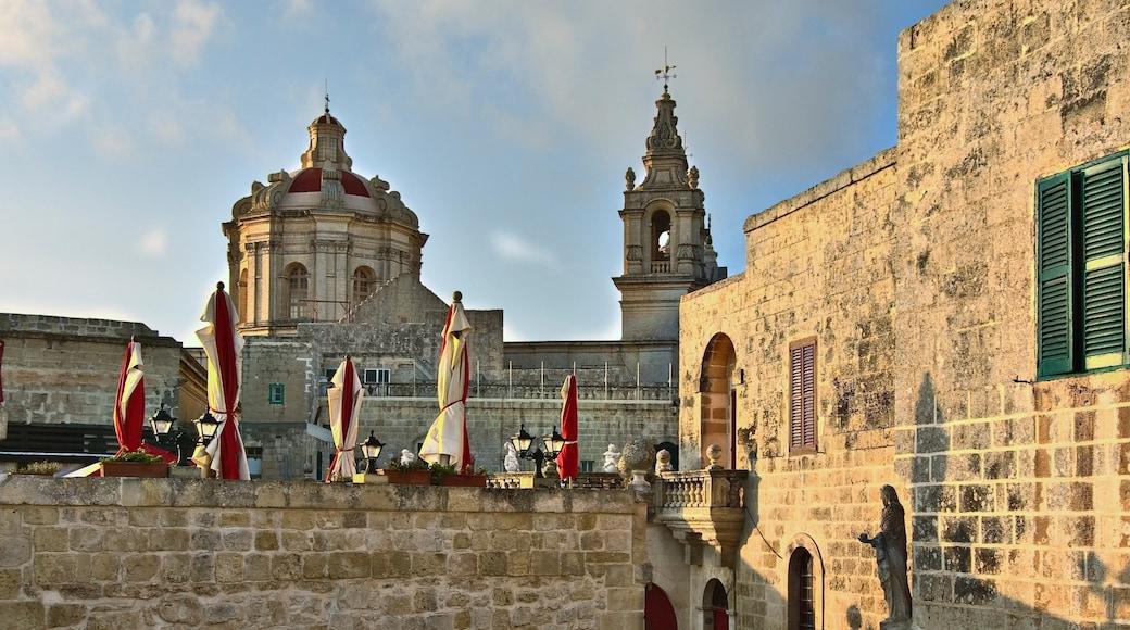 Mdina das einen Geschichtliches, Kirche oder Kathedrale und historische Architektur
