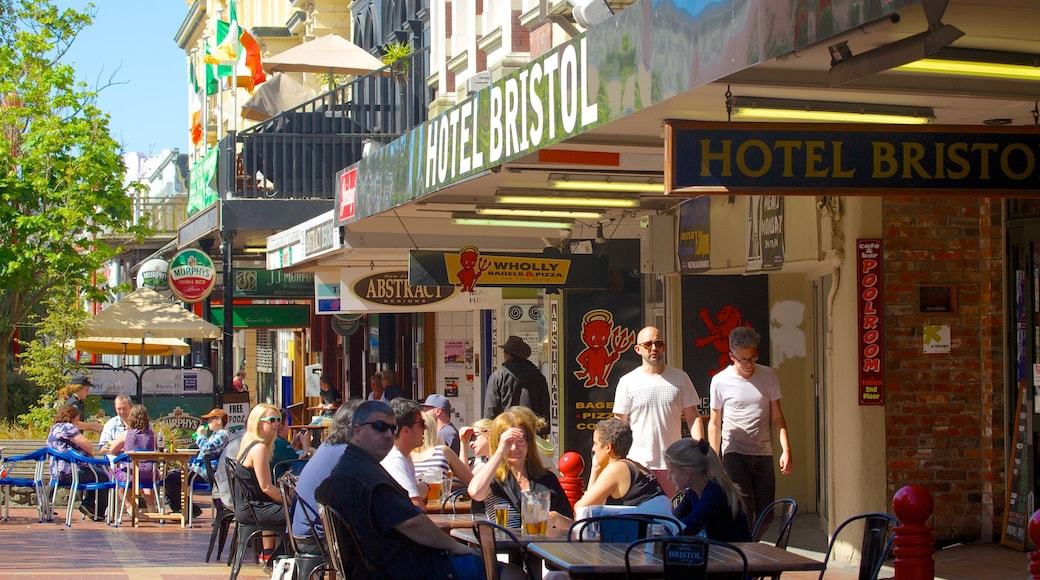 Cuba Street Mall which includes café lifestyle and outdoor eating as well as a large group of people