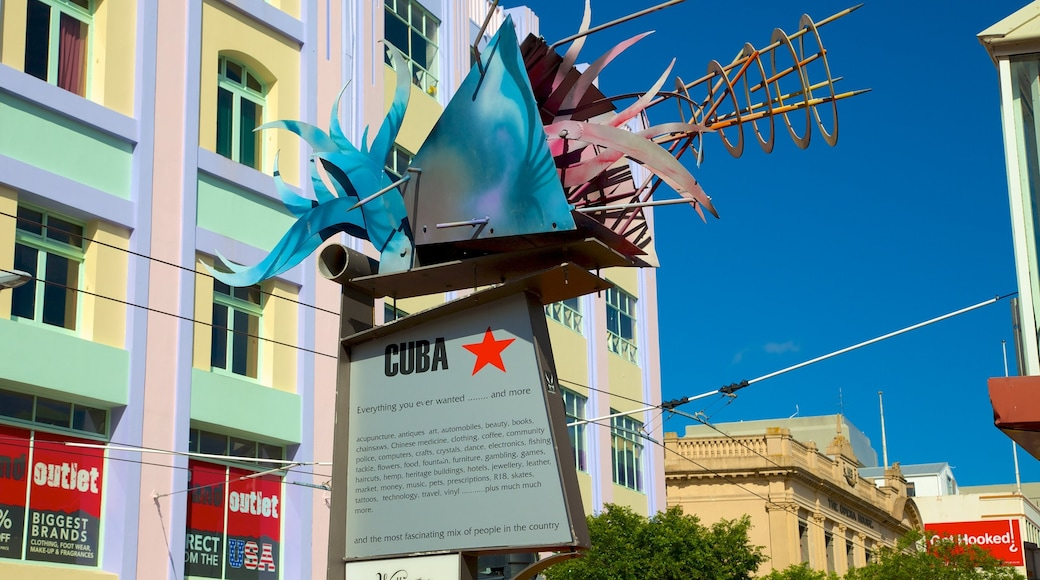 Cuba Street Mall which includes outdoor art and signage