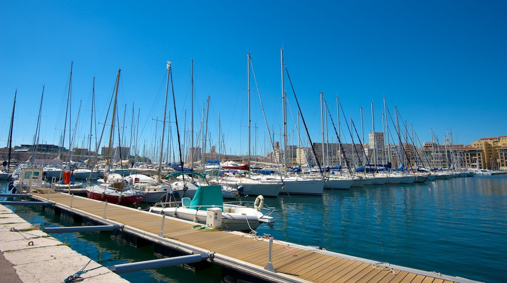 Marseille showing a marina and boating