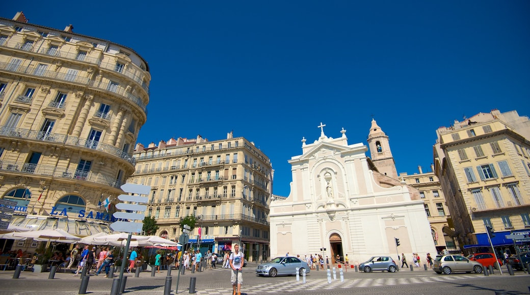 Vieux Port featuring city views, a church or cathedral and heritage architecture