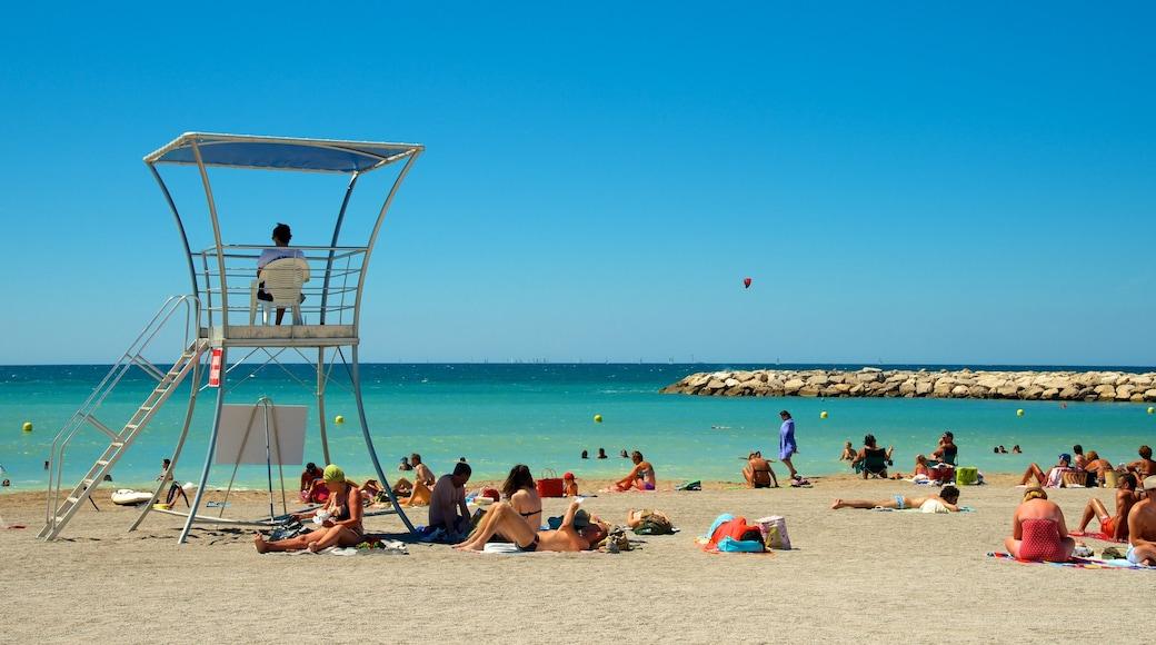 Prado-stranden som inkluderar kustutsikter och en strand såväl som en stor grupp av människor