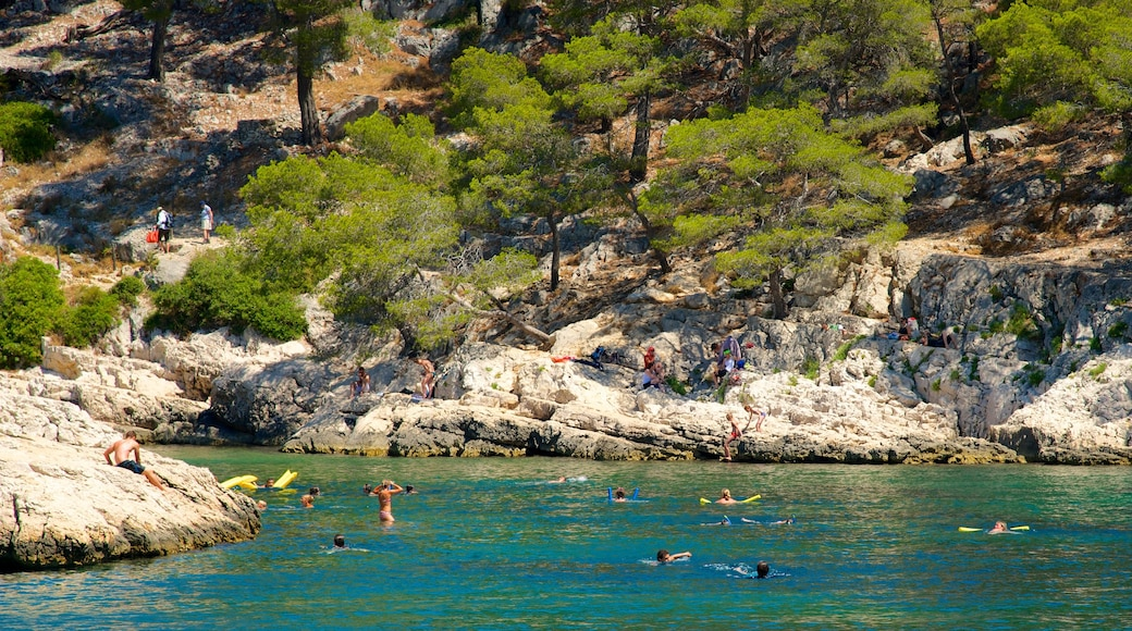 Calanques which includes swimming and rocky coastline