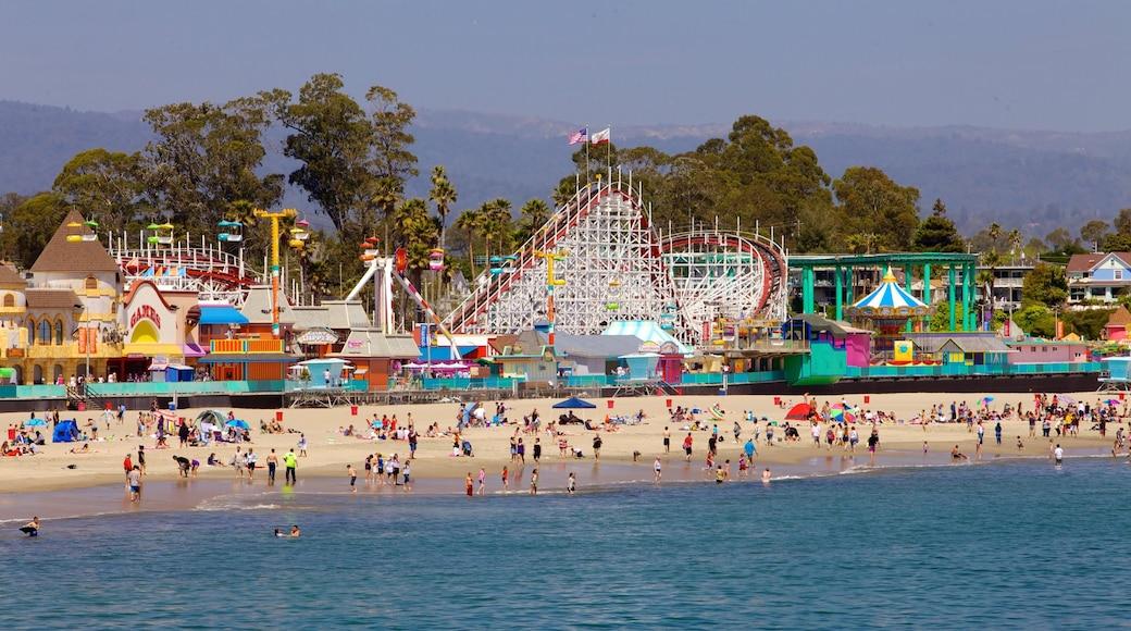 Santa Cruz which includes rides, a coastal town and a sandy beach