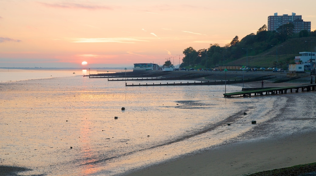 Southend-on-Sea which includes a sunset, general coastal views and a sandy beach